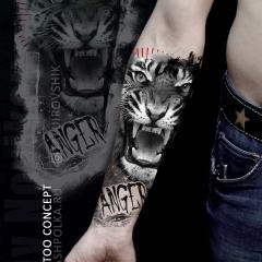 Эскиз тигр на руку
