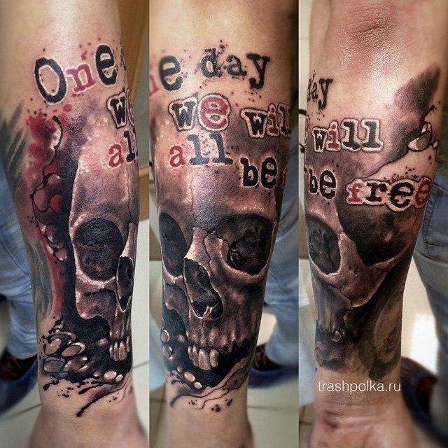 skull tattoo trash polka