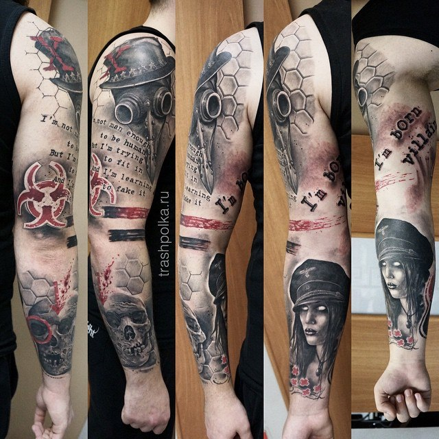 рукав трешполька trash polka tattos