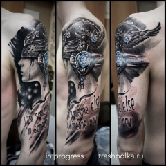 sleeve realistic trash polka tattos рукав трешполька