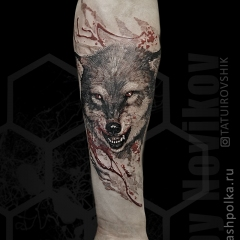 Татуировка волк на руке
