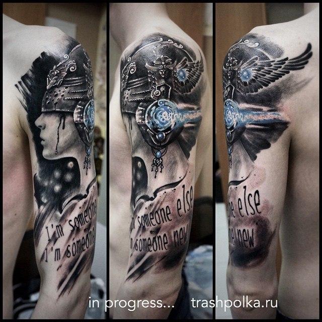 sleeve realistic trash polka tattos рукав трешполька